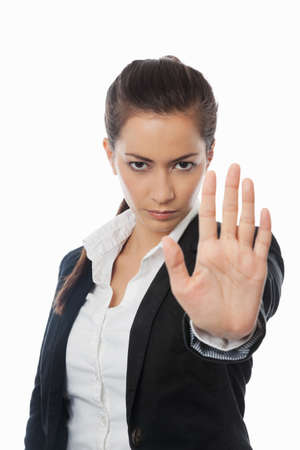 stop hand: Asian Businesswoman with stop hand isolated on white Stock Photo