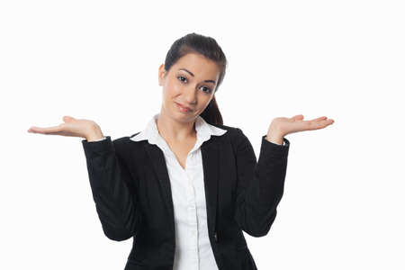 endorsement: Asian Businesswoman can not decide isolated on white