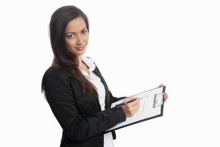 Asian Businesswoman with checklist on white background 版權商用圖片
