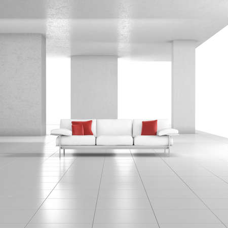 uncarpeted: White room with couch with red cushions and tiled floor Stock Photo