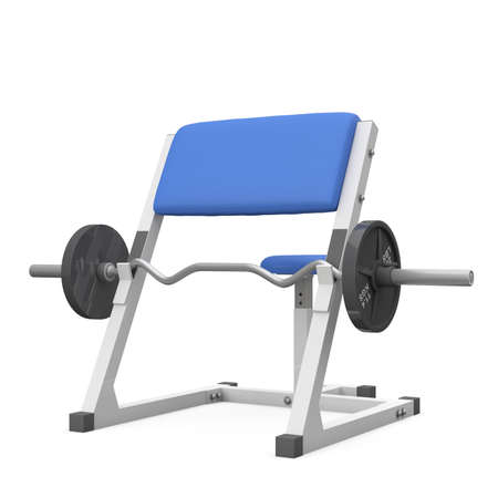Weight bench for biceps isolated on white background photo