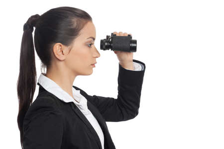 woman searching: Asian Businesswoman with ocular side view isolated on white Stock Photo