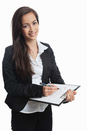 Asian Businesswoman with checklist on white background Stock Photo - 14676796
