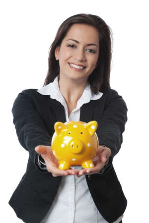 Asian Businesswoman presenting piggy bank isolated on white Stock Photo - 14676789
