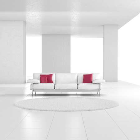 地毯和紅色的靠墊,白色的房間