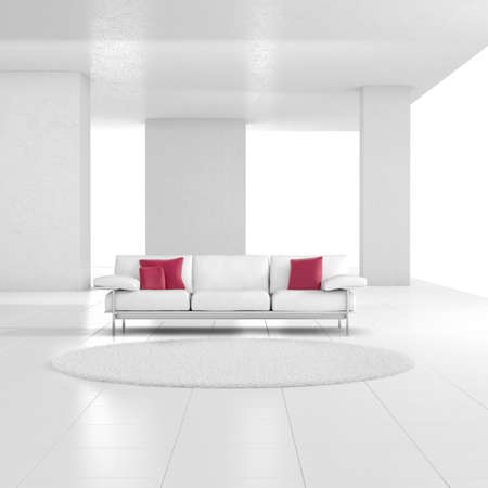 White room with carpet and red cushions photo