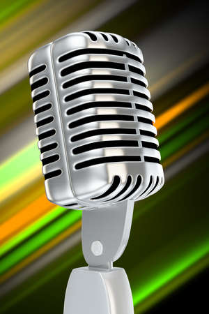 vintage microphone with blurry background color stripes Stock Photo - 14844507