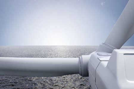 turbin: Windpark med havet och solen över horisonten