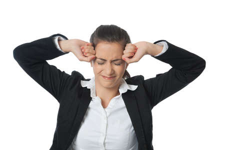 constipation symptom: Asien Businesswoman with two fists an head isolated on white Stock Photo