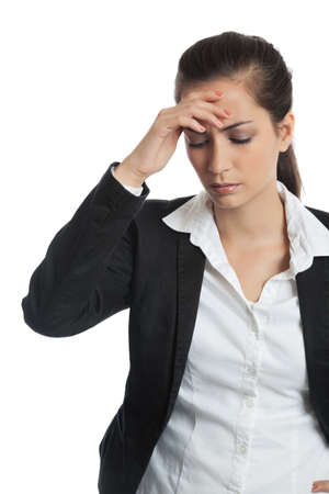 intestinal problems: Asian Businesswoman with headache on white background