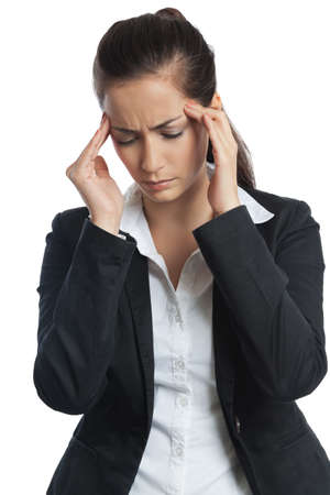 Asian Businesswoman with headache both hands on her head on white background photo