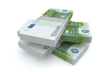 100 Euros money stack isolated on white background photo