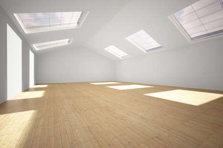 空健身房有硬木地板和陽光 版權商用圖片