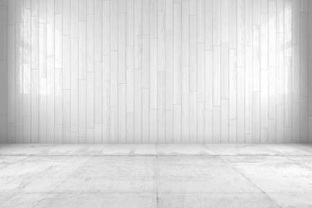 wall covering: White room with copy space and wooden floor