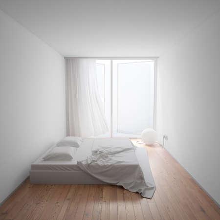 lit: Minimal Interior avec une lampe en forme de sph�re et un lit