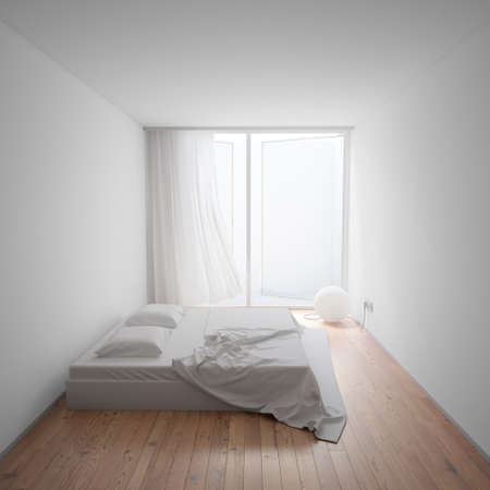 accomodation: Minimal Interior with sphere shaped lamp and bed Stock Photo