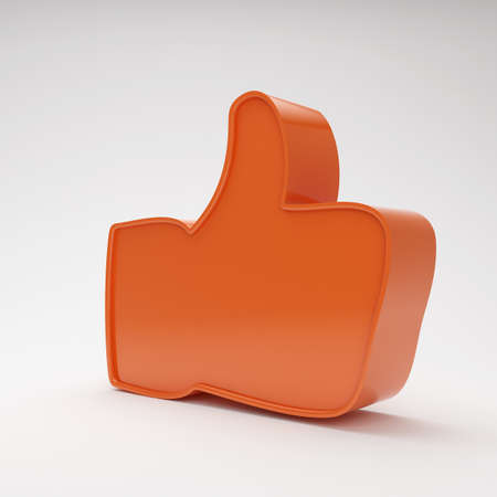 thumbs up gesture: red thumbs up symbol on grey background with highlights Stock Photo