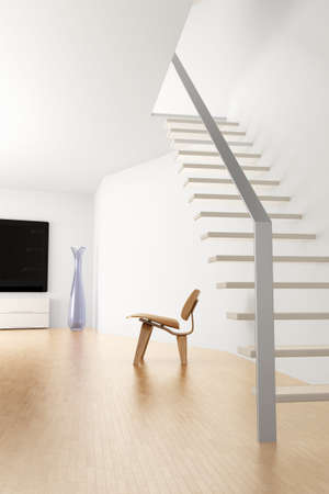 uncarpeted: Room with stairs and hard wood floor Stock Photo