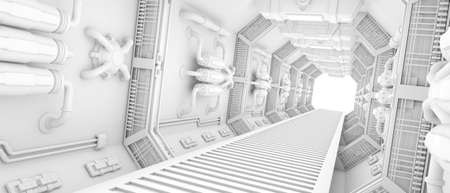 futuristic Interior of a spaceship clean white photo