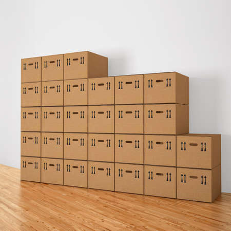 blank box: stacked cardboard boxes in a white room