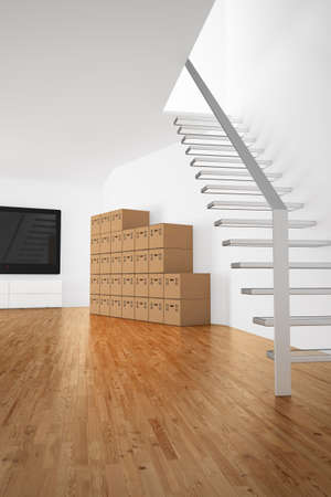 unlabelled: stacked cardboard boxes in a roomm with stairs