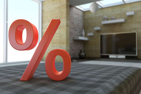 Percent symbol in room with dof and couch Banco de Imagens