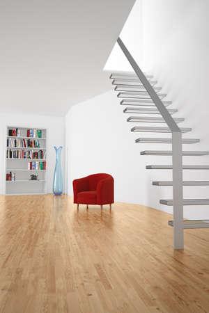 madeira de lei: Sala com escadas e assento e prateleira Banco de Imagens