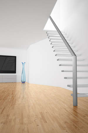 uncarpeted: Room with stairs and TV with white walls