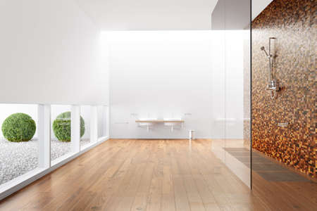 wooden partition: Bathroom with shower and windows and plants