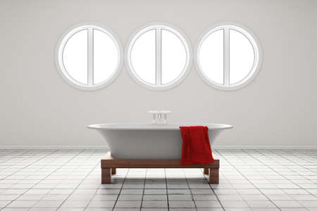 Bathroom with circle shaped windows and red towel Stock Photo - 15811330