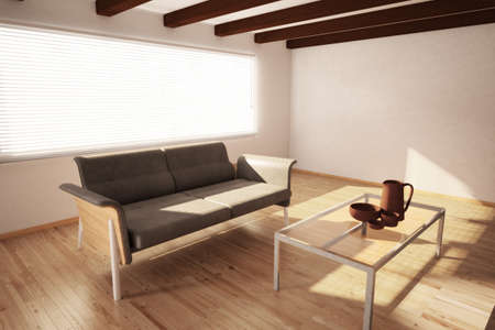 timber floor: mediteran room with couch and table with dishes Stock Photo