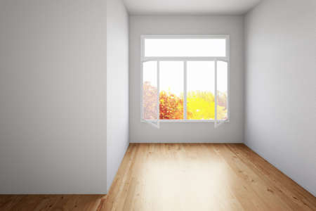 open window: Empty room with hardwood floor and open window Stock Photo