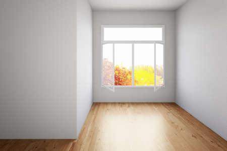 Empty room with hardwood floor and open window Archivio Fotografico