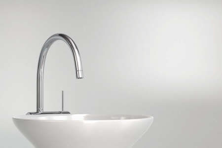灰色背景的3D洗手盆