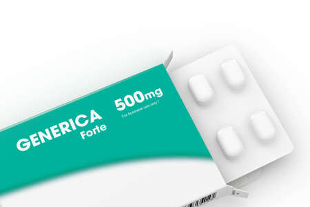 pill box: Generica medical pill box with green label Stock Photo