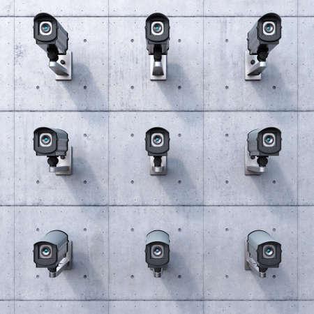 在混凝土牆上九個安全攝像機