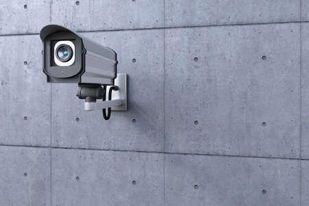 seguridad industrial: c�maras de seguridad mirando hacia la izquierda en la pared de hormig�n