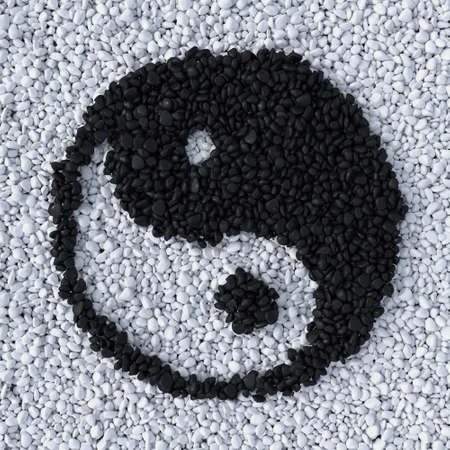 chinese philosophy: YinYang symbol made of gravel stones top view Stock Photo