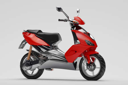 frontal: Red Motor scooter on grey ground frontal view Stock Photo