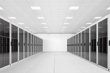 hospedagem: longa fila de racks de servidores em um datacenter