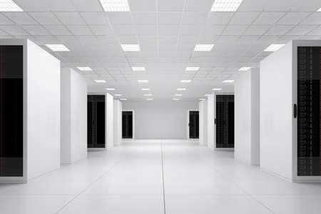 centro de computo: Datos de lado central ver 5 filas de bastidores