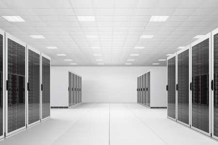 有兩排機架的白色數據中心