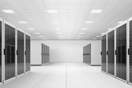 data processor: White Data centre with two rows of racks