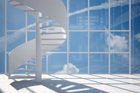 walled: Room with spiral staircase and blue sky background Stock Photo