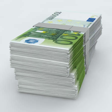 bundles: Euro Moneystack frontal view Stock Photo
