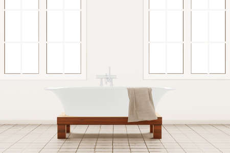 Bathroom with retangle windows and towel Stock Photo - 16433340