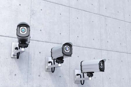 seguridad industrial: c�maras de seguridad con derecho copyspace arriba en la pared de hormig�n