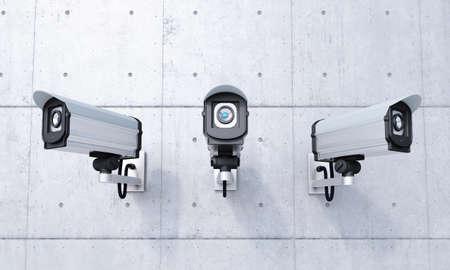 seguridad industrial: Tres c�maras de seguridad en vista frontal muro de hormig�n