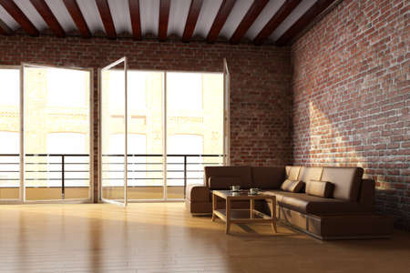 Loft interior with brick wall and coffee table photo