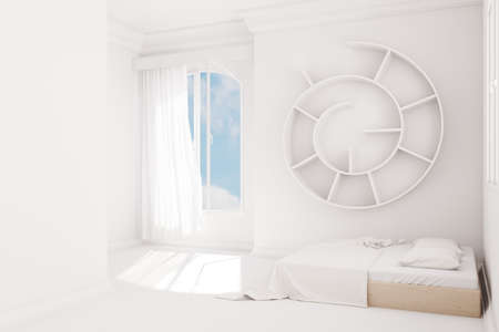 uncarpeted: White Bedroom with curtain and wooden bed